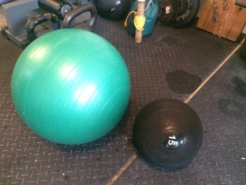 physioball and medicine ball