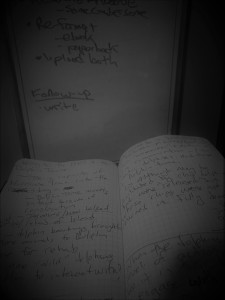 writing notebook and white board