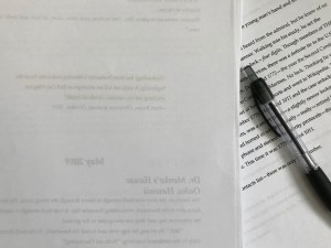 manuscript and pen