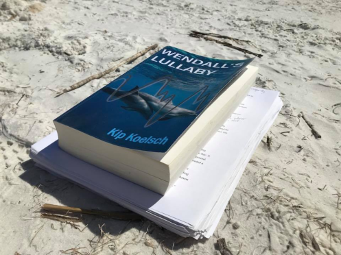 book and manuscript on the beach