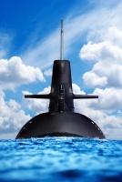 Nuclear submarine in ocean.